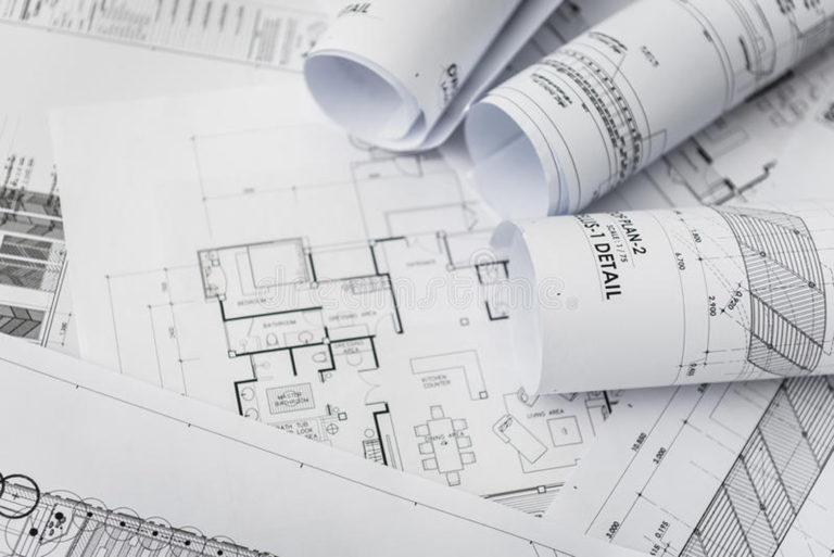 architectural construction drawings roll blueprint 65823033